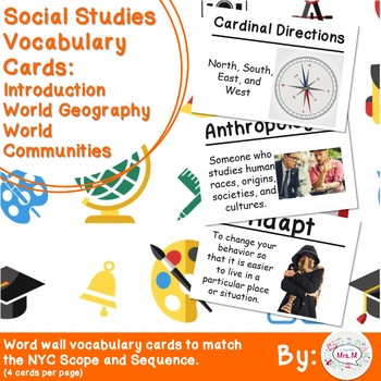 Geography and communities teaching resources teachers pay teachers 3rd grade social studies vocabulary cards intro world geography communities fandeluxe Images