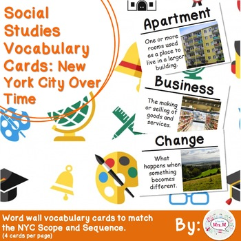 2nd Grade Social Studies Vocabulary Cards: New York City Over Time