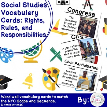 2nd Grade Social Studies Vocab Cards: Rights, Rules, and Responsibilities (L)