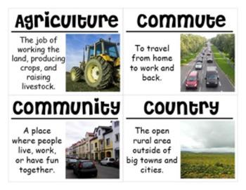 2nd Grade Social Studies Vocabulary Cards: Urban, Rural, Suburban