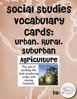 2nd Grade Social Studies Vocabulary Cards: Urban, Rural, S
