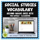 2nd Grade Social Studies Vocabulary Quizzes for Google™ Cl
