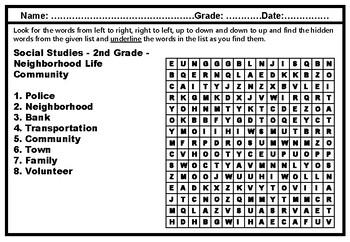 2nd Grade Social Studies, Word Search Worksheets, Social Studies Sub Plan