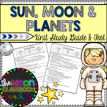 2nd Grade Solar System Unit Test and Study Guide