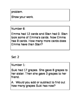 2nd Grade Solving two-step word problem task cards
