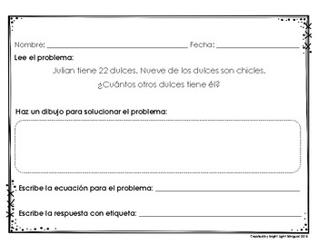 2nd Grade Spanish Word Problems