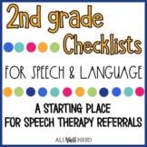 2nd Grade Speech and Language Checklists