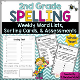 2nd Grade Spelling Assessments and Word Lists EDITABLE {ye
