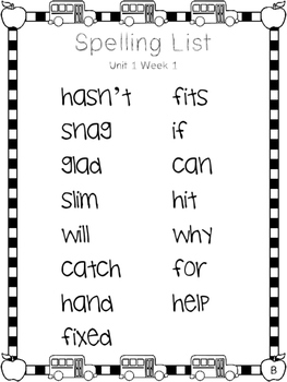 2nd Grade Spelling Lists - Reading Wonders Unit 1