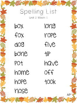 2nd Grade Spelling Lists - Reading Wonders Unit 2