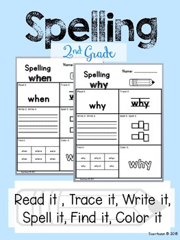 2nd Grade Spelling  - Read it, Trace it, Write it, Spell it, Find it, Color it