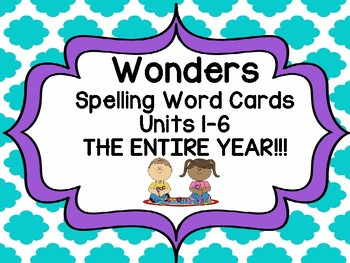 2nd Grade Spelling Word Cards Units 1-6 !  The BUNDLE