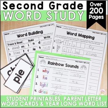 2nd Grade Spelling or Word Work Lists EDITABLE