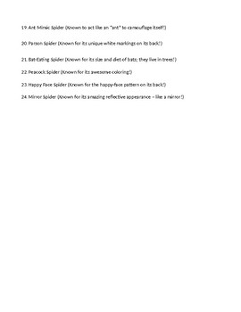 2nd Grade Spider Research Outline