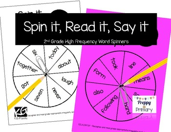 2nd Grade [ Spin it, Read it, Say it ] High Frequency Word Spinners