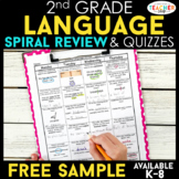 2nd Grade Language Spiral Review | 2 Weeks FREE