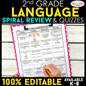 2nd Grade Language Spiral Review | Language Arts Morning Work or Homework