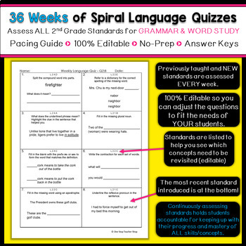 2nd Grade Language Spiral Review | Grammar Morning Work or Homework ENTIRE YEAR