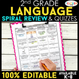 2nd Grade Language Spiral Review & Quizzes | Grammar Homework or Morning Work