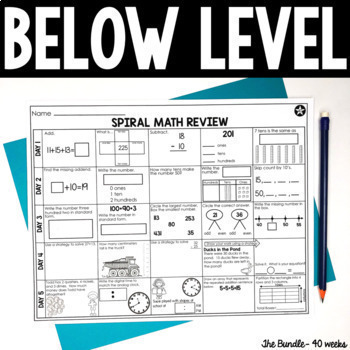 2nd Grade Math Spiral Review   Printable & Digital Included   Distance Learning