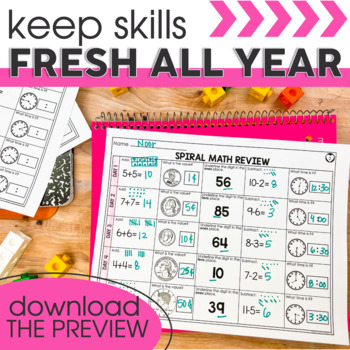 1st Quarter Spiral Math Review | 2nd Grade Morning Work | Homework
