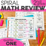 1st Quarter Spiral Math Review | 2nd Grade Morning Work | Digital & Printable