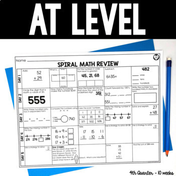 4th Quarter Spiral Math Review | 2nd Grade Morning Work | Homework