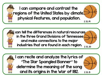 2nd Grade Sports Standards- TENNESSEE Science/Social Studies