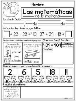 2nd Grade Spring Morning Math in Spanish