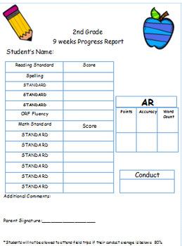 2nd Grade Standard Based Progress Report