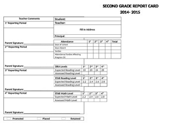 2nd Grade Standard Based Report Card TEKS