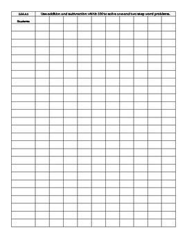 2nd Grade Standards Based Math Grading Sheets