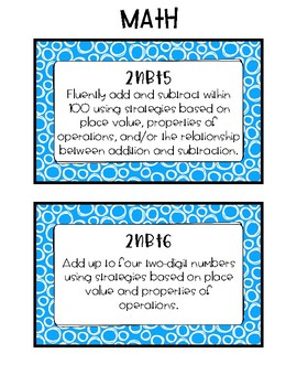 2nd Grade Standards Cards for Math (Georgia Common Core)
