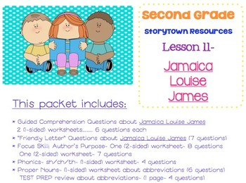 2nd Grade Storytown - Lesson 11 Study Pack (Jamaica Louise James)