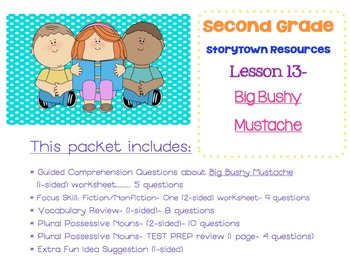 2nd Grade Storytown - Lesson 13 Study Pack (Big Bushy Mustache)