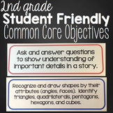 Second Grade Student Friendly ELA & Math Objectives {California Common Core}
