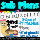 2nd Grade Sub Plans (3 day pack with printable e-book!)