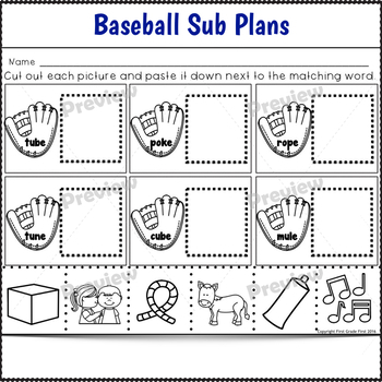 Sub Plans 2nd Grade Baseball Theme