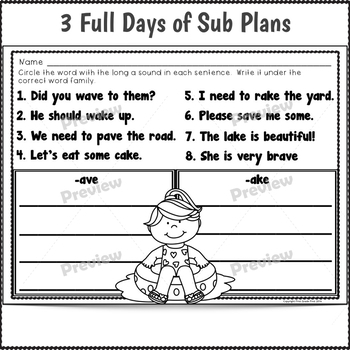 2nd Grade Sub Plans July 3 Full Days