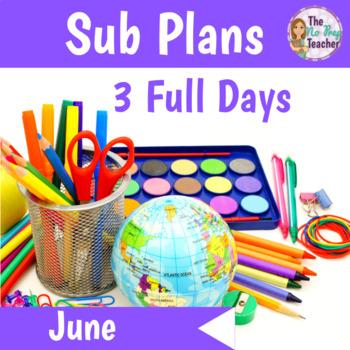 2nd Grade Sub Plans June 3 Full Days