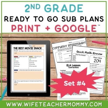 2nd Grade Sub Plans Ready To Go for Substitute. DAY #4. No