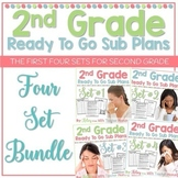 2nd Grade Sub Plans Ready To Go for Substitute. No Prep. FOUR full days bundle.