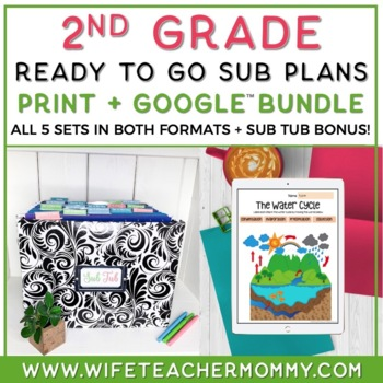 2nd Grade Sub Plans- Emergency Sub Plans for Sub Tub FULL Bundle
