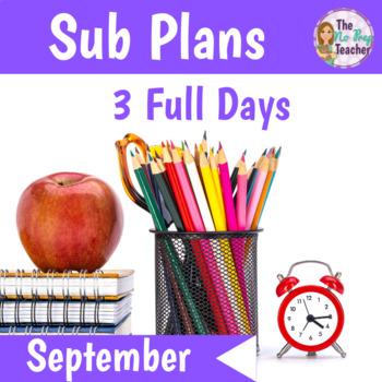 2nd Grade Sub Plans September 3 Full Days