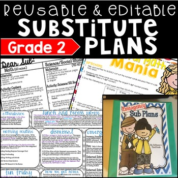 2nd Grade Substitute Plans Reusable and Editable