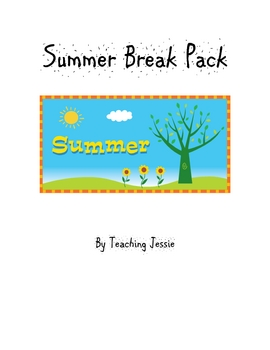 2nd Grade Summer Break/Vacation Pack