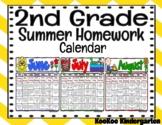 2nd Grade Summer Homework Calendar