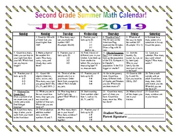 2nd Grade Summer Math Calendars