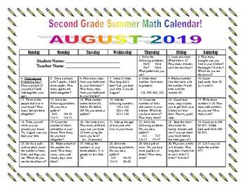 2nd Grade Summer Math Calendars