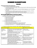 2nd Grade Summer Suggestions Handout for Parents